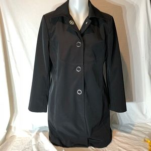 JM Collection Black Fall Coat Snap Front